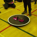 Autonomous Mini Sumo bots start a bout